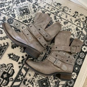 Steve Madden distressed grey studded booties